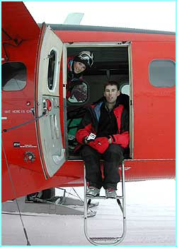 Lizzie and director Paul waiting to take off from Mars Oasis, near their base in Antarctica,  where they went to film for Newsround