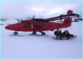 Once they landed there they jumped on a sledge towed by a skidoo to get to where the scientists were
