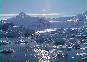 This is a typical photo of the Antarctic on a good day...