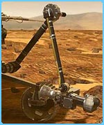 The Mars rover has an extendable arm which gathers information