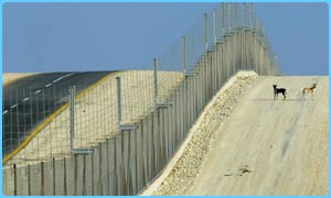 A giant fence has been built between Israel and Palestinian territories