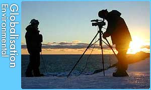 Filming in Antarctica
