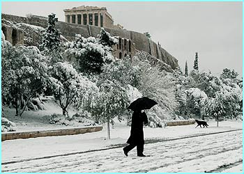 Believe it or not, this is Athens in Greece covered in snow after the city experienced some unusually bad weather