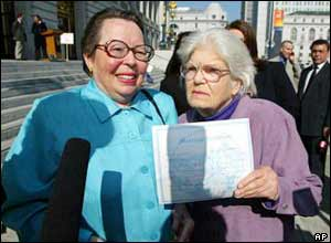 Phyllis Lyon (L) and Del Martin (R) hold up their marriage certificate