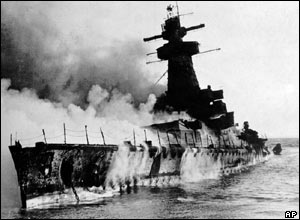 The Graf Spee in flames