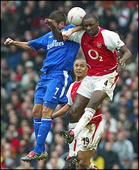 Adrian Mutu clashes with  Patrick Vieira