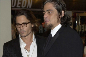 Best actor rivals Johnny Depp and Benicio Del Toro were close friends on the night.