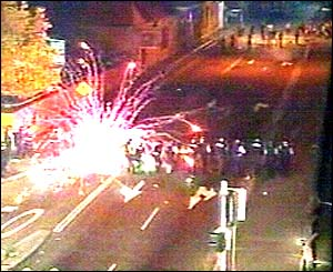 Fireworks aimed at police in Redfern