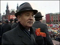Mr Gorbachev at a Red Square parade in Moscow