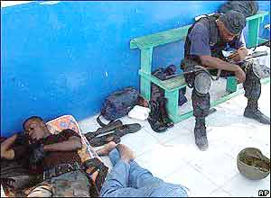 Haitian policemen taking a break