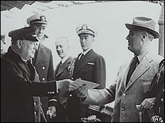 Churchill and Roosevelt on board Augusta