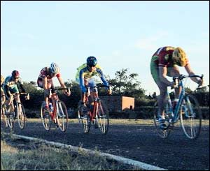 Cyclists racing at Pembrey Motoracing Track, captured in action by Hywel Evans