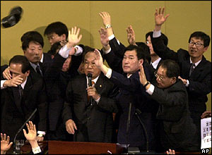 Speaker Park Kwan-yong announces the impeachment