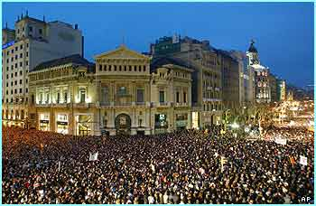 This crowd is in Barcelona, protesting against the blasts that killed 198 people in Spain