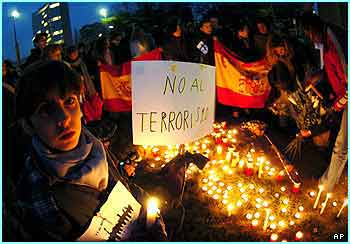 Spanish people all over the world chose to protest against the bombings. These people are in Switzerland