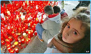 Children light candles