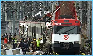 Train wreckage in Madrid