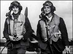 Two RAF pilots in flying gear