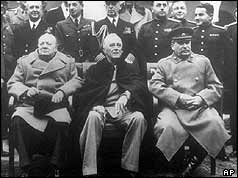 Churchill, Roosevelt and Stalin with others behind