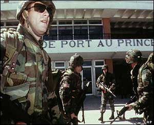 US troops securing Port-au-Prince airport, Nov 1994