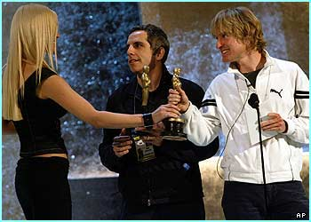 Presenters Ben Stiller and Owen Wilson are casually dressed as they rehearse with the statuettes