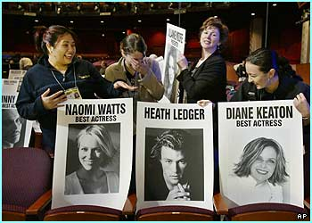 What would you give to have your mug shot and name on one of these front row seat placards? Not long to go before the stars take their seats and the biggest night in Hollwood begins...