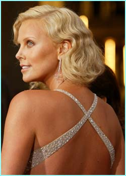 Best actress winner Charlize Theron in a sparkly number