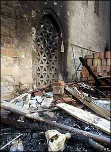 Damage at a mosque in central Belgrade which was set ablaze overnight