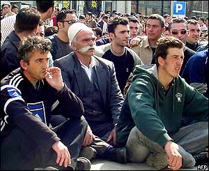 Sit-down Albanian protest in Pristina.
