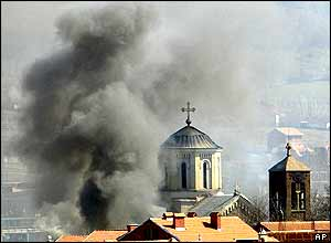 Serb church burning in Mitrovica on Thursday