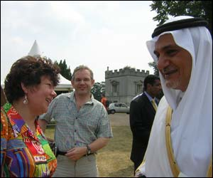 Prince Turki Al Faisal talking to guests at 'Saudi Arabian Day - A Summer Celebration' held in Syon Park, Brentford
