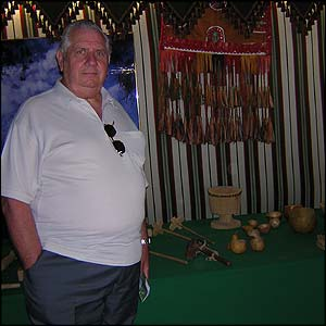 Alan Gulliver who was visiting friends in London in front of a display of Saudi tools