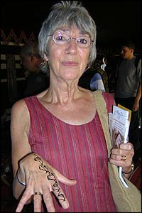 Anny Winkfield showing her decorated hand - henna is widely used in Saudi Arabia