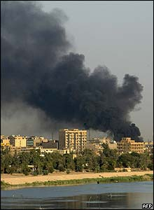 Plumes of smoke above Baghdad