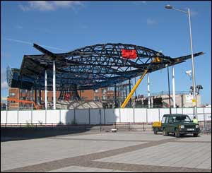 The new Welsh assembly debating chamber takes shape in Cardiff Bay (Name not given)