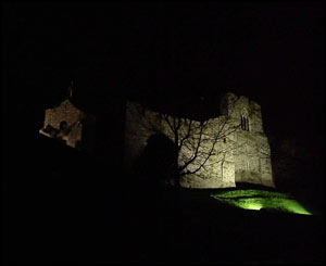 Oystermouth castle in Swansea at night, captured by Julian Johnson from Barry
