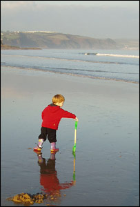 Lukas Gamble and son Ollie at Saundersfoot in Pembrokeshire