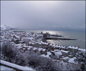 Liam, who is studying at Aberystwyth University, captured the town under a blanket of snow