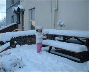 This shot of Abigail enjoying her first snow in Carmarthen, was sent in by her father Rob Thomas