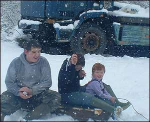 Sion, Tomos and Catrin Ephraim get stuck into the snow (Anita Ephraim)