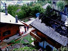One of the burnt-out chalets at Granges-sur-Salvan
