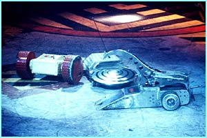 Some robots built for destruction! Robot Wars' Hypnodisc, Wheeley Big Cheese and Ming 3 battle it out