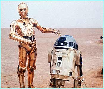The most famous droid double act, C3P0 and R2D2 from the Star Wars films.
