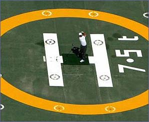 Tiger Woods on the helipad