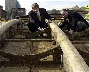 Philip Davies and Dr Steven Brindle examine Brunel's bridge