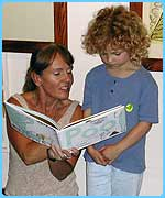 Book author Nicola Davies with young fan, Cleo