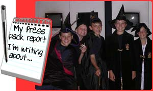 Matthew and his friends dressed as wizards for the special screening of Harry Potter