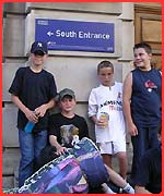 Matthew and his friends wait outside the museum with their overnight stuff