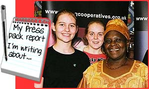 Young co-operative members with Tanzanian tea farmer, Cecilia