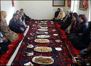US civilian administrator in Iraq Paul Bremer had breakfast with a group of Iraqi women